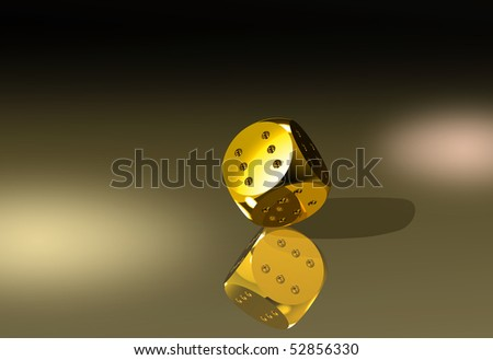 Golden dice with six dots every side - stock photo