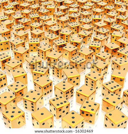golden dices background - stock photo