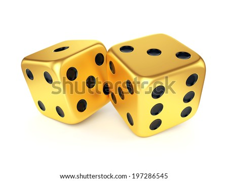 Golden dices isolated on white background. Gambling, card game, casino and luck concept. - stock photo