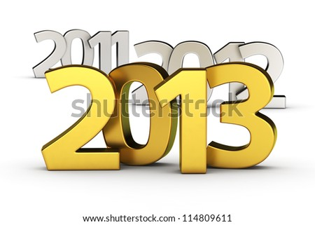 Golden digits 2013 against defocused 2012 and 2011 - stock photo