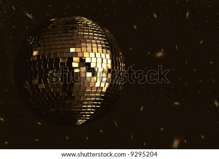 golden disco ball - stock photo