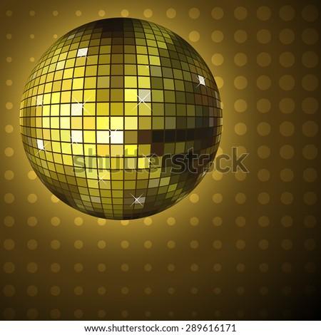 Golden disco ball background.  - stock photo