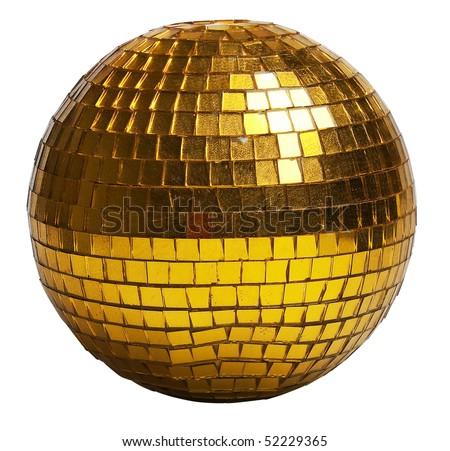 golden disco-ball (isolated on a white) - stock photo