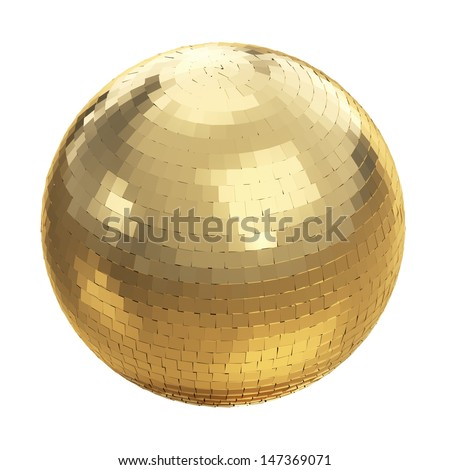 Golden disco ball on white isolated with clipping path - stock photo