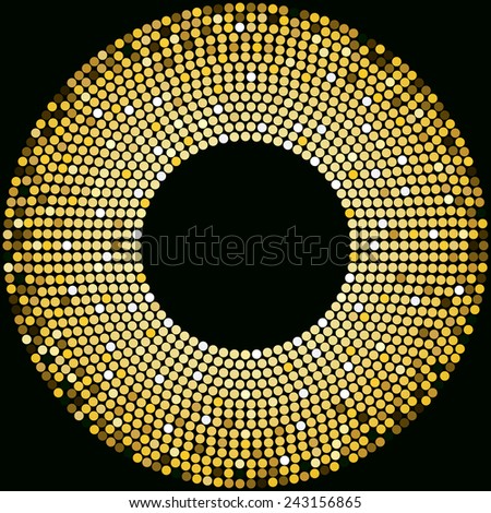 Golden disco balls halftone pattern background design - stock photo