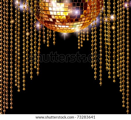 Golden disco mirror ball and glitter curtains on dark background