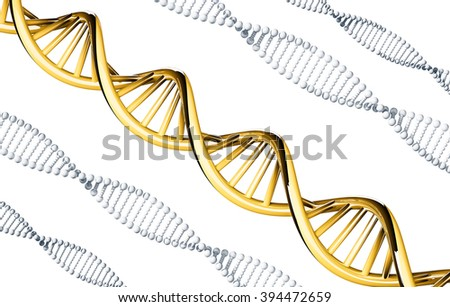 Golden DNA with silver DNA, dominant gene, isolated on white background - stock photo