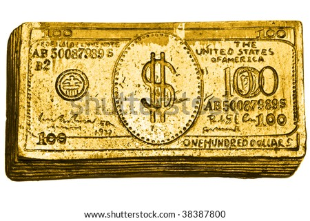 golden 100-dollar bill - stock photo