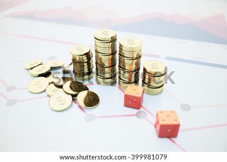 Golden dollar coin bars and red dice on blurry chart background. 3D Rendering - stock photo