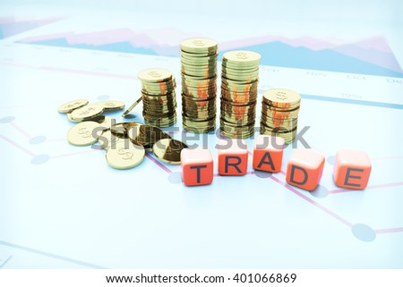 Golden dollar coin bars with trade dice on blurry chart background. 3D Rendering - stock photo