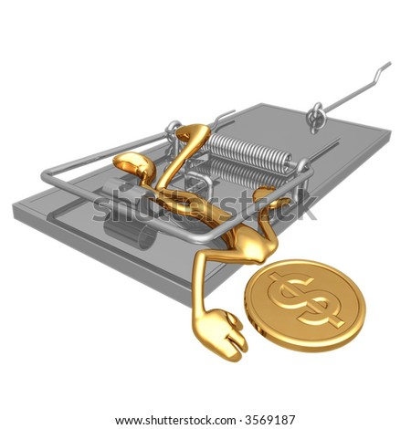 Golden Dollar Coin In A Mouse Trap - stock photo