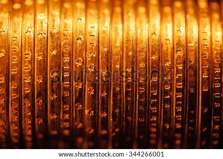 golden dollar coins backdrop, macro view - stock photo