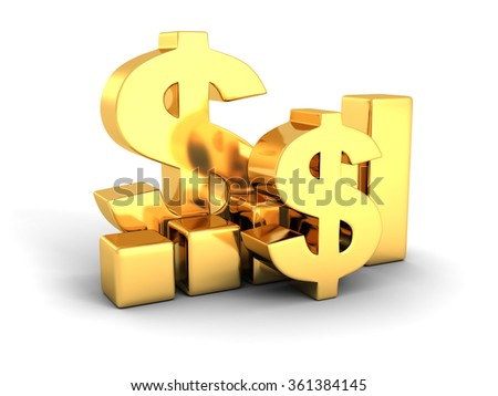 golden dollar financial success bar chart graph. 3d render illustration - stock photo