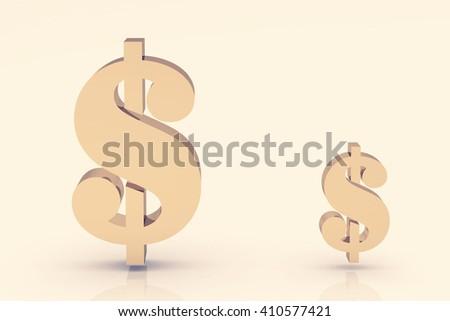 Golden dollar sign  .3D illustration - stock photo