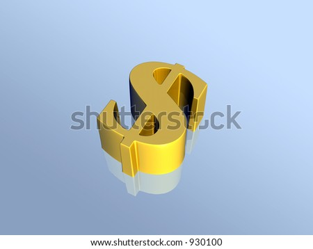 Golden dollar sign. 3D illustration, background.  Financial concept. Clipping path. - stock photo