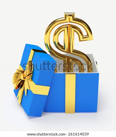 Golden dollar sign in a blue gift box isolated on white background - stock photo