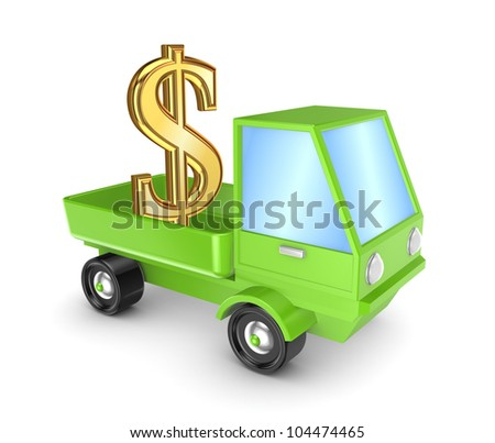 Golden dollar sign in a green truck.Isolated on white background.3d rendered. - stock photo