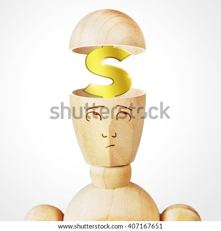 Golden dollar sign into the human head. Abstract image with a wooden puppet - stock photo