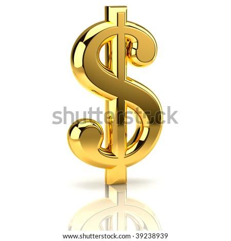 golden dollar sign on white - stock photo