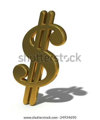 Golden dollar sign with shadow isolated on white, 3d render - stock photo