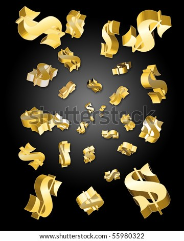 Golden dollar signs emerging from a black background