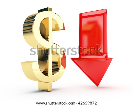 golden Dollar symbol and down arrows - stock photo