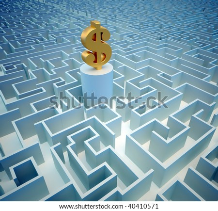 Golden dollar symbol sitting in a a huge maze - 3d render - stock photo