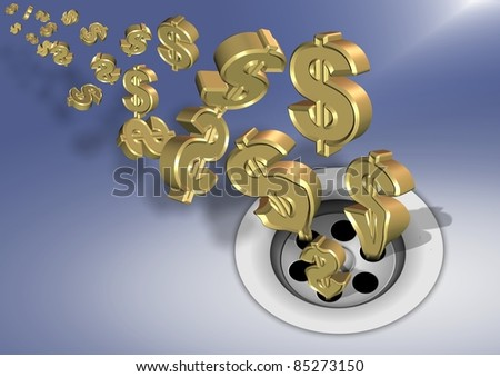 Golden dollar symbols going down a sink drain / Money down the drain