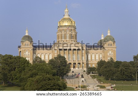 Golden dome of Iowa State Capital building, Des Moines, Iowa - stock photo