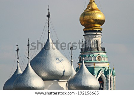 golden dome of the church - stock photo