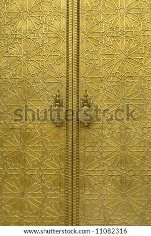 golden door detail in a house in morocco - stock photo