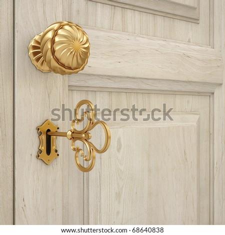 golden door handle and a golden key. 3d image. - stock photo
