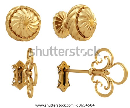 golden door handle and the golden key. isolated on white. with clipping path. - stock photo
