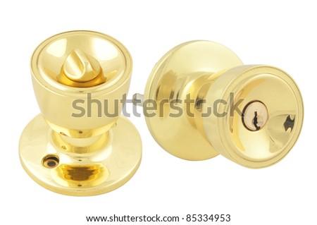 Golden Door handle Gloss isolated on white - stock photo