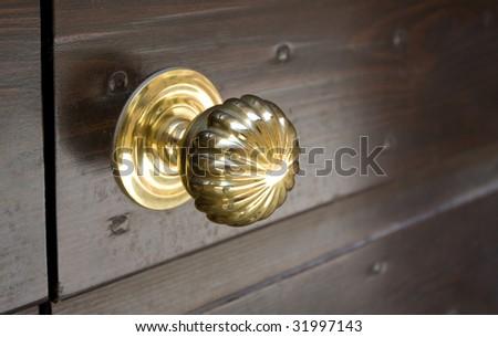 Golden door knob - stock photo