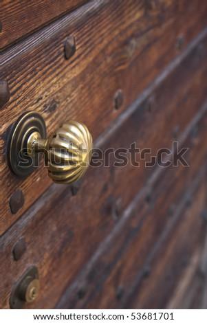 Golden door knob closeup - stock photo
