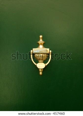 golden door knocker - stock photo