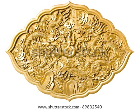 golden dragon decorated on red wood wall,chinese style in temple at Wat-Leng-Noei-Yi2 , Bang-Bua-Thong, Nonthaburi, Thailand - stock photo