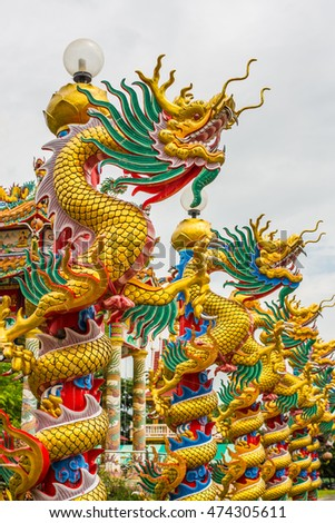Golden Dragon in Chinese temple