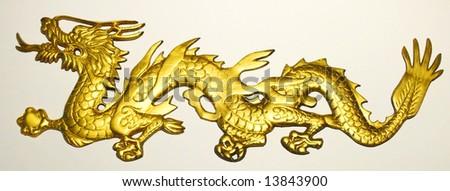 Golden Dragon in Isolation - stock photo