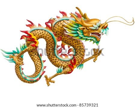 Golden dragon isolated on white background with clipping path