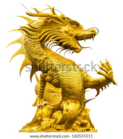 Golden dragon statue at isolated on white background - stock photo