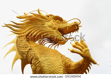 Golden dragon statue in chinese temple in Chonburi province Thailand. - stock photo