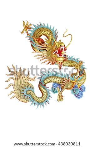 Golden dragon statue in the Chinese temple in Thailand - stock photo