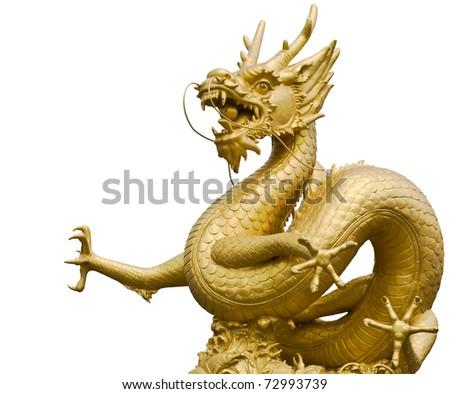 Golden dragon statue in white background - stock photo