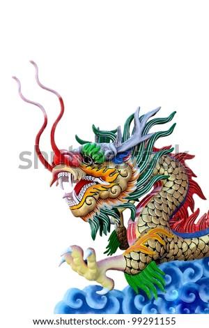 Golden dragon statue in white isolate - stock photo