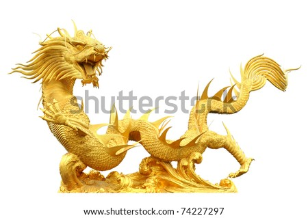 Golden dragon statue isolate on white