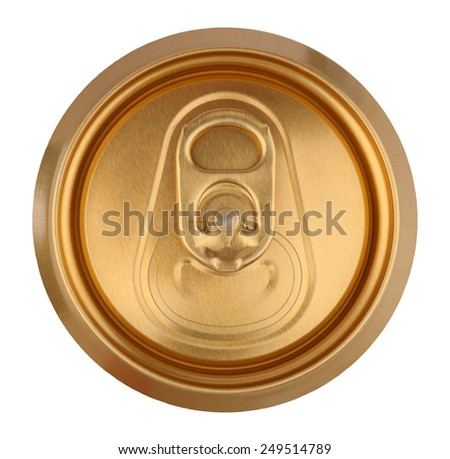 Golden drink can close up