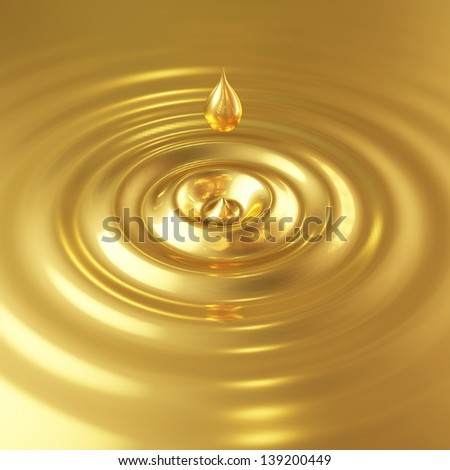 golden drop with waves - stock photo