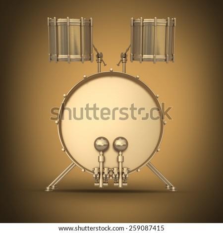 Golden drum instrument. High resolution 3d render - stock photo